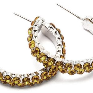 1-Diameter-Huggie-Hoop-Earrings-Yellow-Crystals-Pierced-Ears-Silver-tone-172208147182