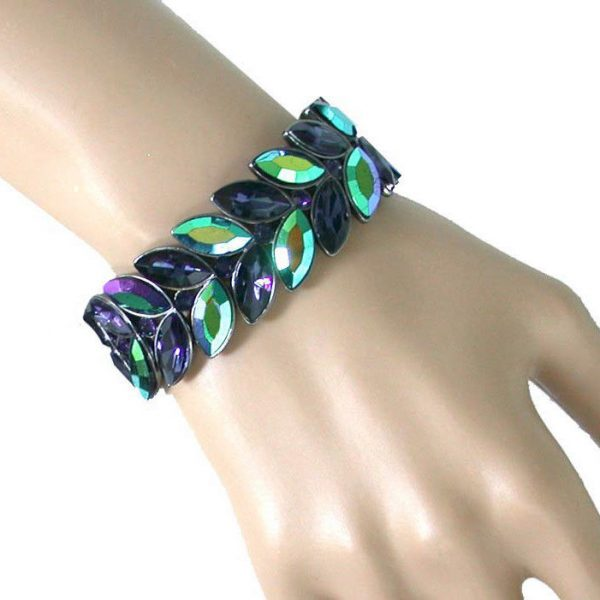 "1"" Iridescent Peacock & Montana,Blue Navy Glass Stretch Evening Bracelet,Pageant"
