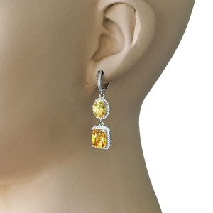 15-Drop-Yellow-CZ-Earrings-Bridal-Pageant-Silver-tone-Pierced-Ears-362037822522