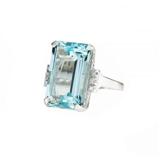 16.42CT Aquamarine Lab Created Stone 925 Sterling Silver Ring