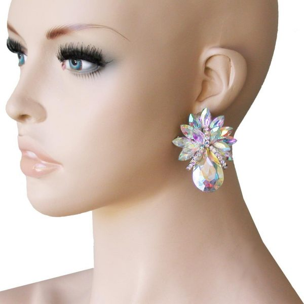 "2"" Drop AB Acrylic Rhinestones, Clip On earrings, Pageant,Drag Queen,Bridal"