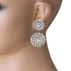 2-Long-Clear-Crystals-Clip-On-Earrings-Pageant-Drag-Queen-Bridal-Prom-172815858402
