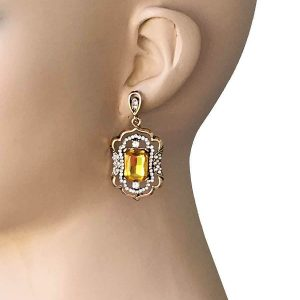 2-Long-Victoria-Inspired-Golden-Earrings-Yellow-Clear-Rhinestones-Bridal-361961440162