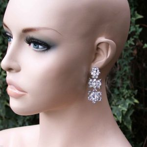 2-Long-Vintage-Inspired-Linear-Floret-Earrings-Clear-Crystals-Bridal-Pageant-172098590602