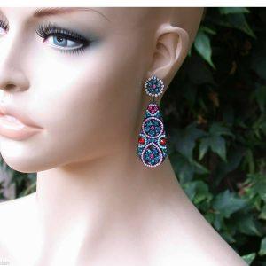 2-Royal-Blue-Acrylic-Clear-Rhinestones-Post-Earrings-Pageant-Bridal-172273751522