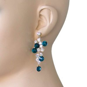 225-Long-Clear-Crystals-Teal-Blue-Glass-Vine-Earrings-Pageant-Pierced-172479060352