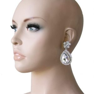 225-Long-Clear-Glass-Crystals-Clip-On-Earrings-Pageant-Bridal-Drag-Queen-361881081302