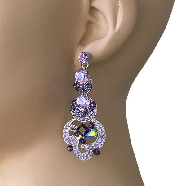 "2.5"" Long, Lavender & Purple Rhinestones Evening Earrings, Pageant, Bridal"