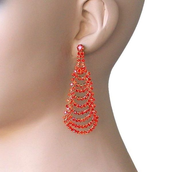 "2.75"" Drop Cascade Earrings Orange Rhinestones, Pageant, Gold tone, Pierced Ears"