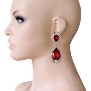 275-Long-Clip-On-Earrings-Red-Glass-Clear-Rhinestones-Drag-Queen-Pageant-172674837682
