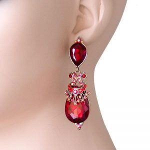 275-Long-Designer-Inspired-Earrings-Vivid-Red-Glass-BridalPageantDrag-Queen-362107213592