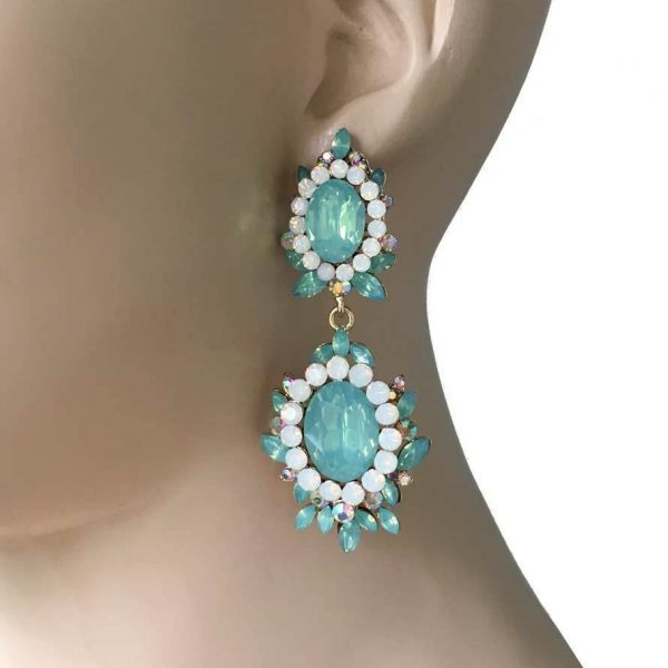 "2.75"" Long, Simulated Green Opal Crystals Evening Earrings,Pageant,Bridal"