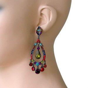 3-Long-Dark-Multicolor-Chandelier-Earrings-Pageant-Drag-Queen-Party-172493830822