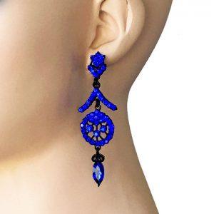 3-Long-Evening-Earrings-Cobalt-Blue-Rhinestones-PageantBridalDrag-Queen-172667711392