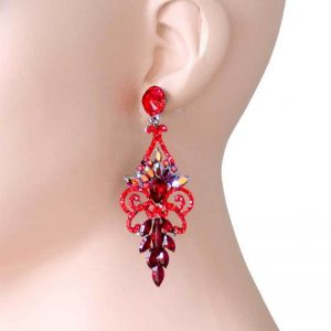 3-Long-Red-Crystals-Acrylic-Evening-Earrings-PageantDrag-QueenBridal-361853489962