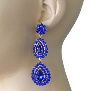 3-Long-Royal-Blue-Rhinestones-Earrings-Pageant-Pierced-Drag-Queen-172814304352