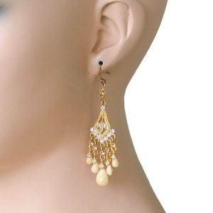 3-Long-Yellow-Beige-Lucite-Beads-Clear-Crystals-Small-Chandelier-Earrings-361887050162