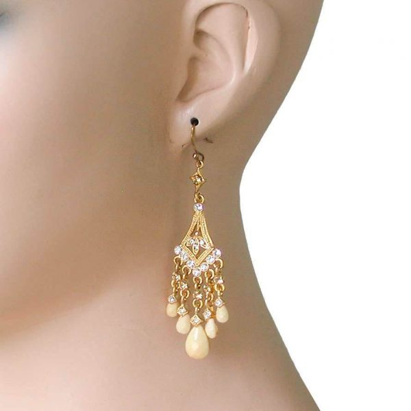 "3"" Long Yellow & Beige Lucite Beads, Clear Crystals Small Chandelier Earrings"