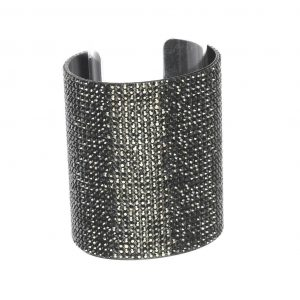 325-Black-Pave-Crystal-Cuff-Bangle-Statement-Bracelet-Pageant-Drag-Queen-361874655292