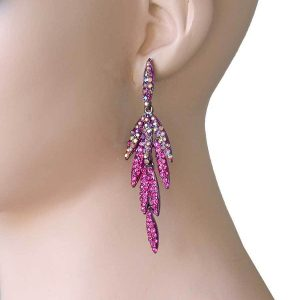325-Long-Fuchsia-Pink-Iridescent-Rhinestones-Earrings-Pageant-Drag-Queen-361832443882