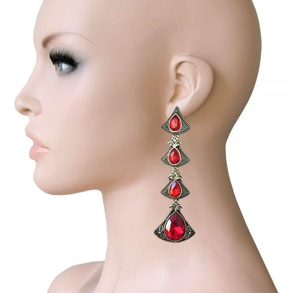 "3.5"" Long, Deco Inspired Red Rhinestones Earrings, Pageant, Drag Queen"
