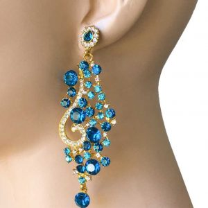 35-Long-Gold-Tone-Teal-Pool-Blue-Rhinestone-Evening-Earrings-Pageant-Bridal-362042147312