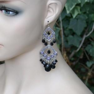 4-Long-Black-Gray-Lucite-Beads-Earrings-Boho-StylePageant-Drag-Queen-172091657192