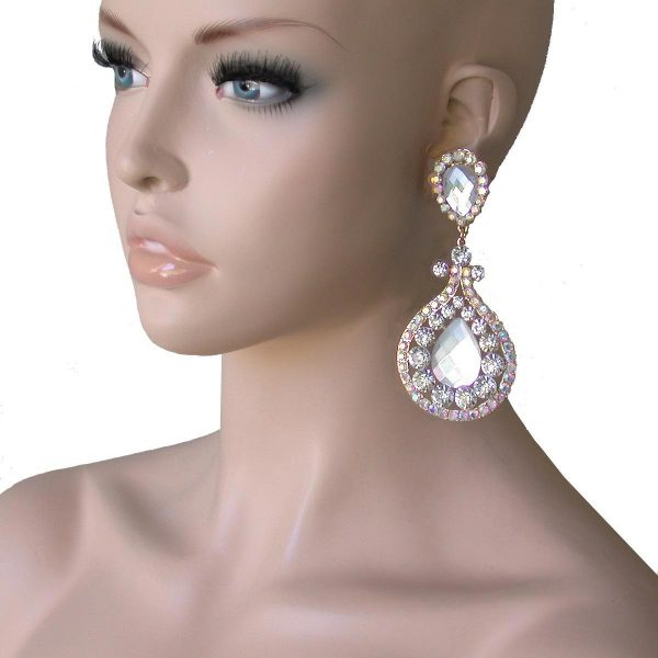 """4"""" Long, Clear & AB Rhinestones, Clip On earrings, Pageant, Drag Queen, Bridal"""