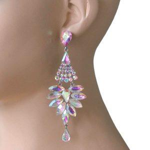 4-Long-Designer-Inspired-Earrings-AB-Acrylic-BridalPageantDrag-Queen-361889794312