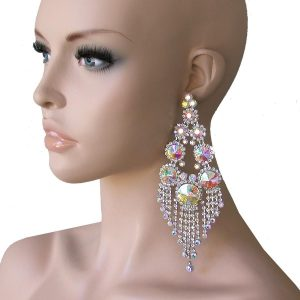 575-Long-Silver-Tone-Statement-Earrings-AB-CrystalsDrag-Queen-Showgirl-362043008462