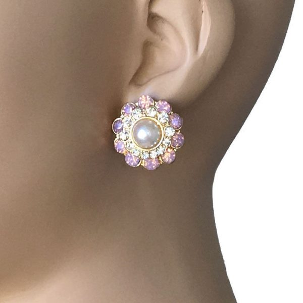 "7/8"" Drop Cluster Earrings, Clear, Rose Opal Crystals, Faux Pearl, Gold tone"