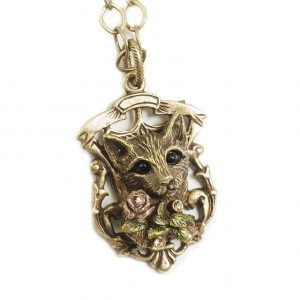 Antique-Gold-Bronze-Tone-Cat-Pendant-Necklace-By-Sweet-Romance-Made-in-USA-172511334572