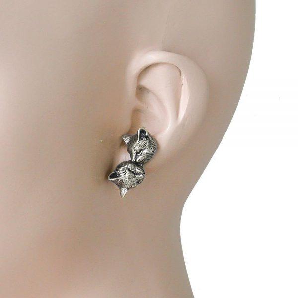 Antique Silver tone Cat- Kitten Stud Earrings By Sweet Romance,  Made in Usa