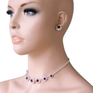Brown-Clear-Crystals-Rhinestones-Dainty-Choker-Necklace-Earrings-Set-361883681802