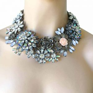 Chunky-Statement-Necklace-Pageant-Flowers-Rhinestones-Drag-Queen-Gunmetal-362026288592