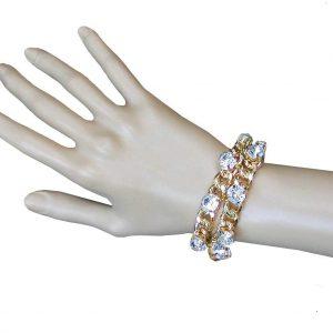 Classic-Gold-Tone-Clear-Rhinestones-2-Strand-Bracelet-Pageant-Bridal-361889785012
