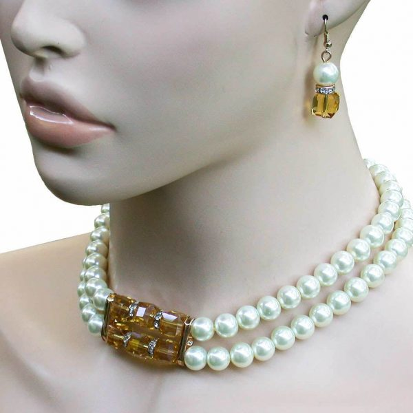 Cream Faux Pearls & Light Brown Austrian Crystals Choker Necklace & Earrings