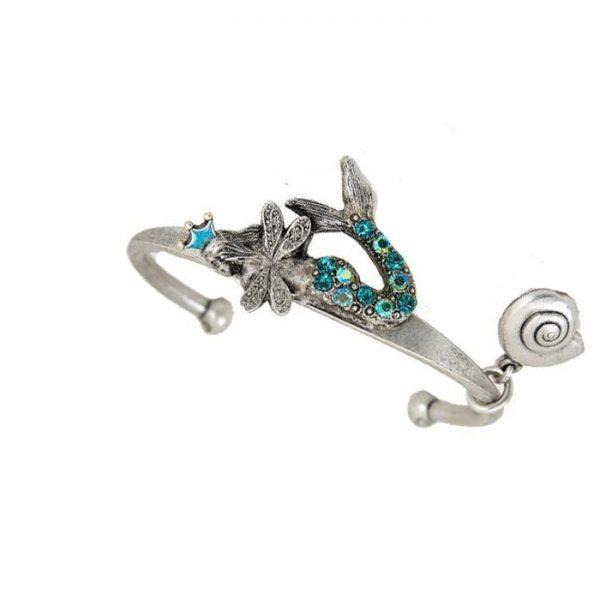 Crowned Mermaid Cuff Bracelet by Mary DeMarco, La Contessa, Made in USA