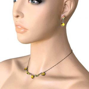 Dainty-Yellow-Crystals-Necklace-Earrings-Set-By-Anne-Koplik-Made-In-USA-Bridal-172784412842