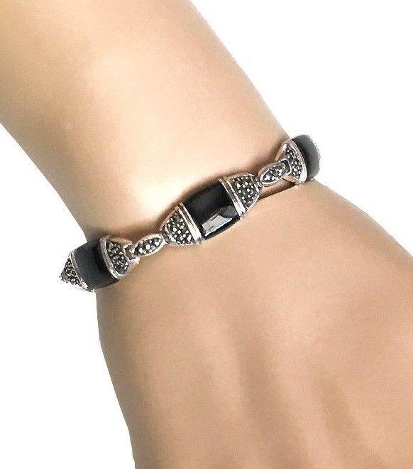 Deco style vintage reproduction 925 sterling silver bracelet onyx mar - Boutique deco vintage ...