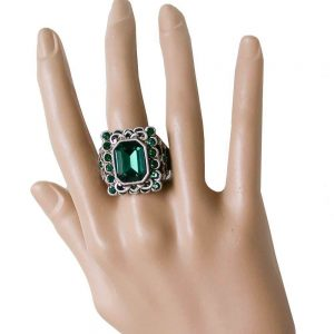 Emerald-Green-Crystals-Vintage-Look-Cocktail-Ring-by-Sweet-Romance-Made-in-USA-172532214912