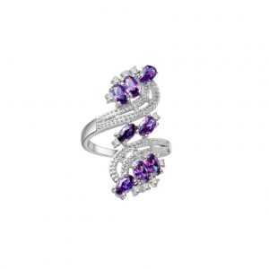 Lab-Created-Amethyst-Silver-Plated-Alloy-Filigree-Ring-Size-95-172635401572