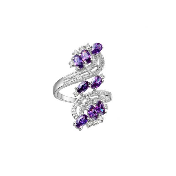 Lab Created Amethyst Silver Plated Alloy Filigree Ring Size 9.5