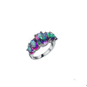 Lab-Created-Rainbow-Topaz-925-Sterling-Silver-Princess-Engagement-Ring-Size-6-361990340552