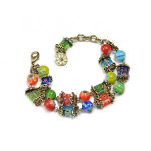 Millefiori-Venetian-Style-2-Strand-Glass-Bracelet-By-Sweet-Romance-Made-In-USA-172510177612