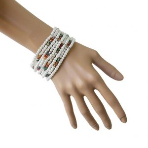Multistrand-White-Faux-Pearls-Multicolor-Lucite-Bead-Stretch-Bracelet-Pageant-361648087922
