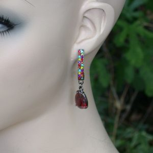 Red-Teardrop-Multicolor-Crystals-Gunmetal-Finish-Linear-Post-Earrings-361006345192