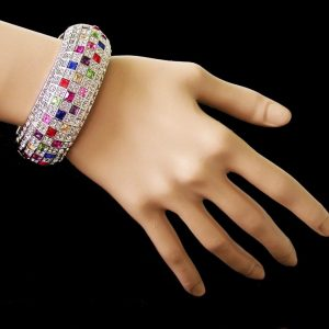 Rhodium-Plated-Multicolor-Crystals-Checkered-Pattern-Bangle-Bracelet-Bridal-172153373222