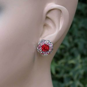 Round-Red-Iridescent-Crystals-Earrings-Post-Style-For-Pierced-Ears-172004082262