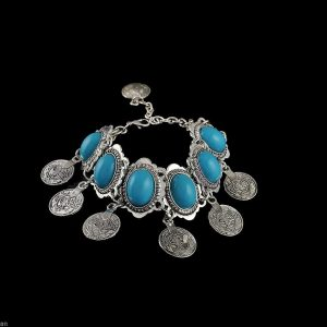 Silve-Tone-Coins-Charmed-Bracelet-Fake-Turquoise-Belly-Dance-Boho-Style-Gipsy-361509838012
